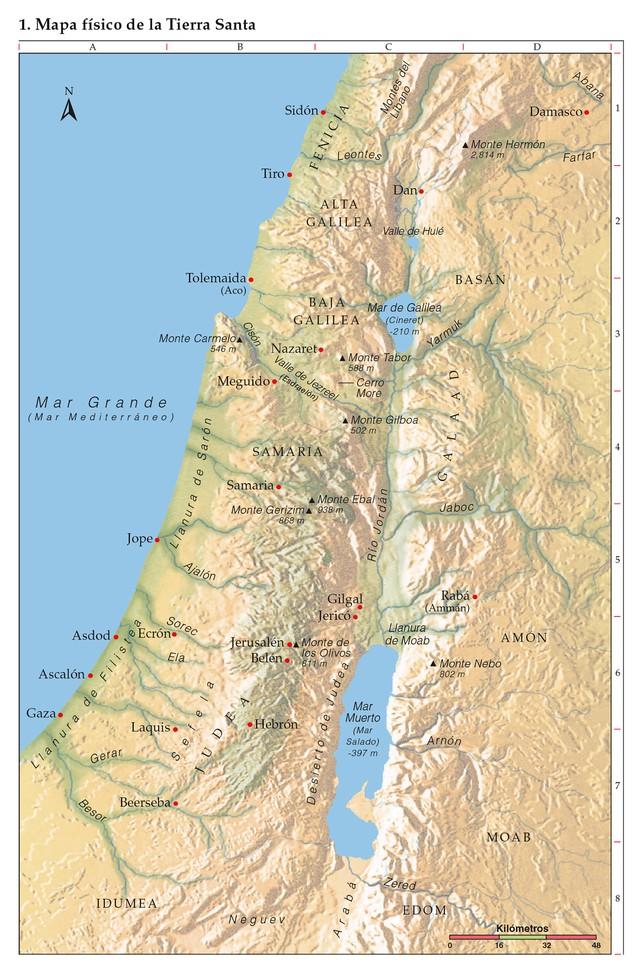1 Mapa Físico De La Tierra Santa Tierra Santa Mapas Tierra De Canaan