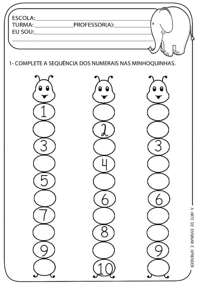 Sequencia Numerica Com Imagens Fichas De Exercicios De