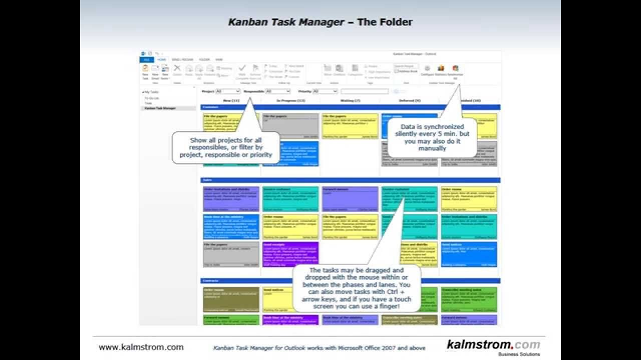 Kanban Task Manager for Outlook Slideshow* Version 3 of