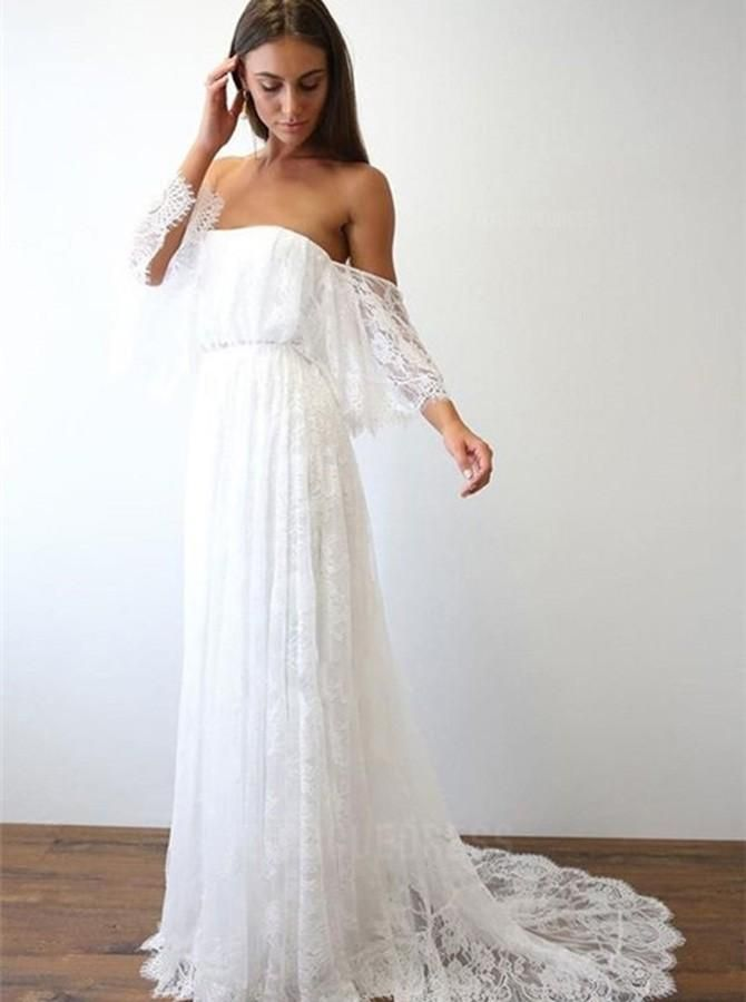 Prom Dresses Classy, A-Line Off-the-Shoulder Sweep Train Lace Beach Wedding Dress
