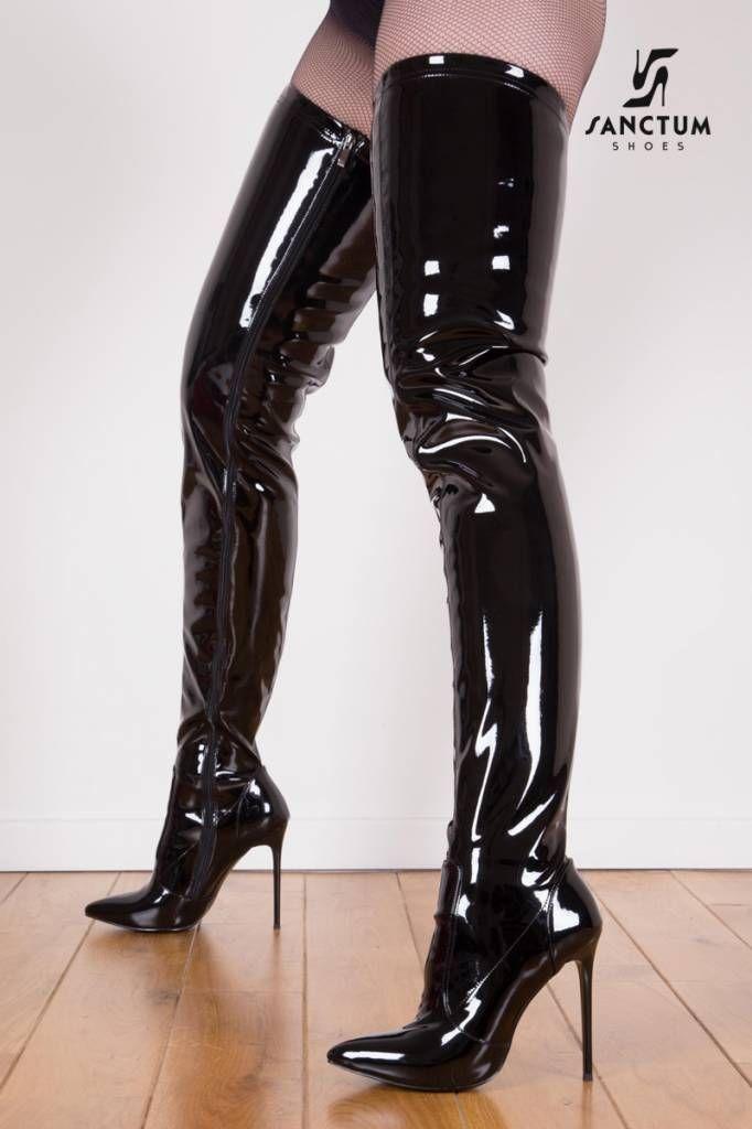 Black shiny Giaro Elegant 12cm heeled thigh high boots
