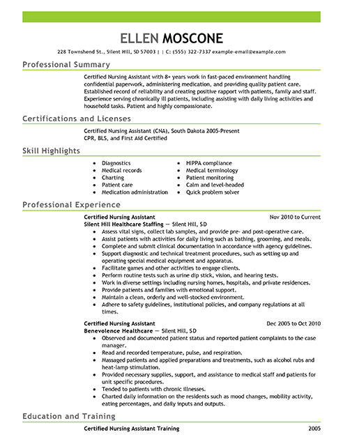Certified Pharmacy Technician Resume Sample Resume Examples Certified Nursing Assistant Medical Assistant Resume Nursing Resume Resume Examples