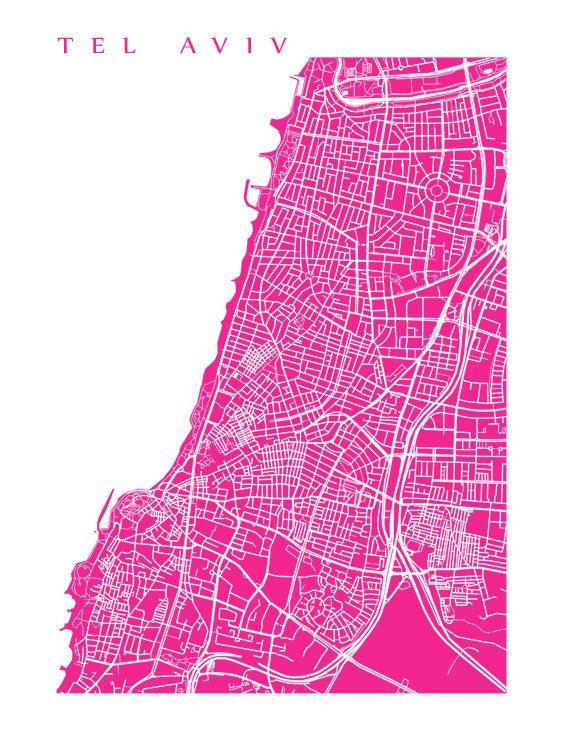 Tel Aviv Map Art Print Israel Poster von CartoCreative auf Etsy