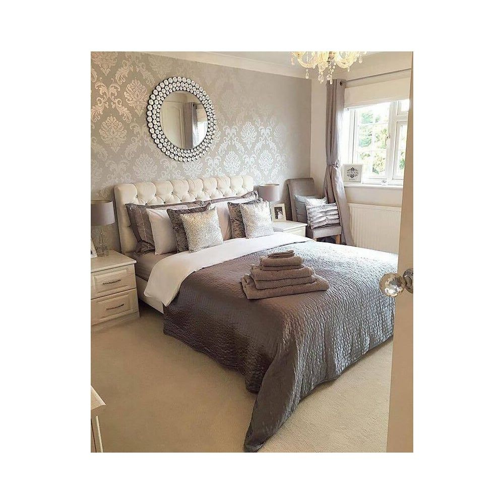The Glittery World Of Silver Bedroom Ideas: Chelsea Glitter Damask Wallpaper Soft Grey Silver