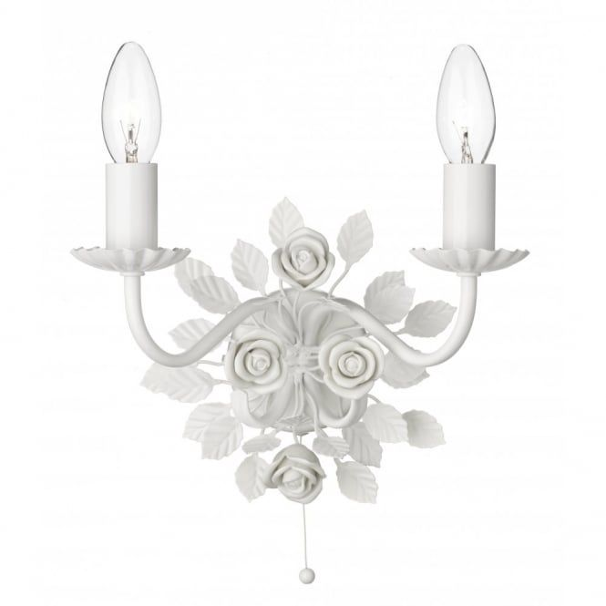 Saskia double candle wall light white ceramic roses pull switch saskia double candle wall light white ceramic roses pull switch aloadofball Image collections