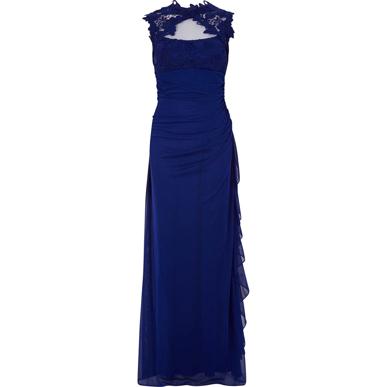 Betsy Adam Cobalt Lace Illusion Gown
