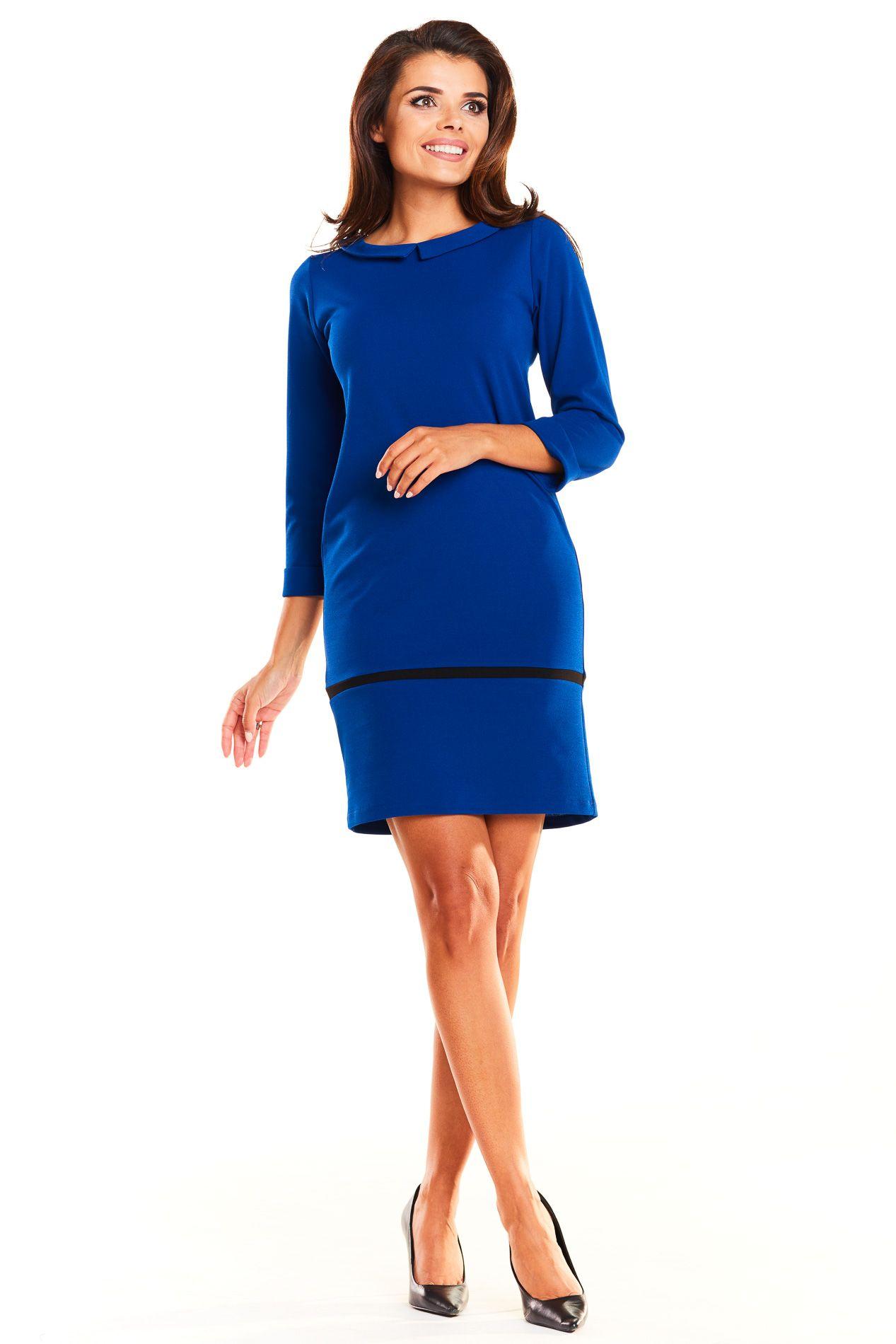 a022df06a3 Elegancka Sukienka z Kołnierzykiem Niebieska AW238 w 2019
