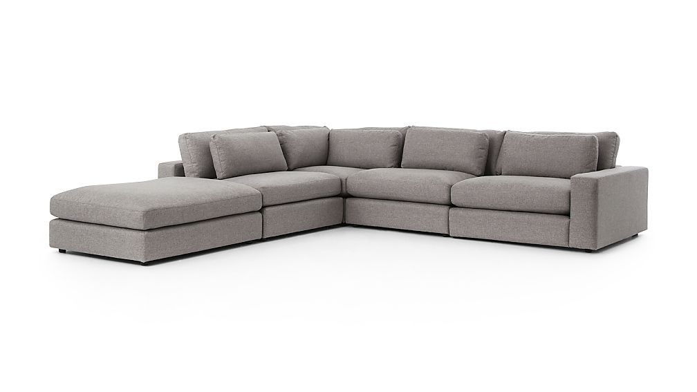 Best Mirabel Pewter 5 Piece Right Arm Sectional Sofa Crate 640 x 480