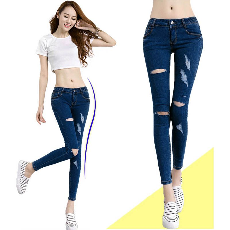 Jeans Rotos Casual Moda Mujer Jeans Rotos Jeans Roto Mujer Ropa