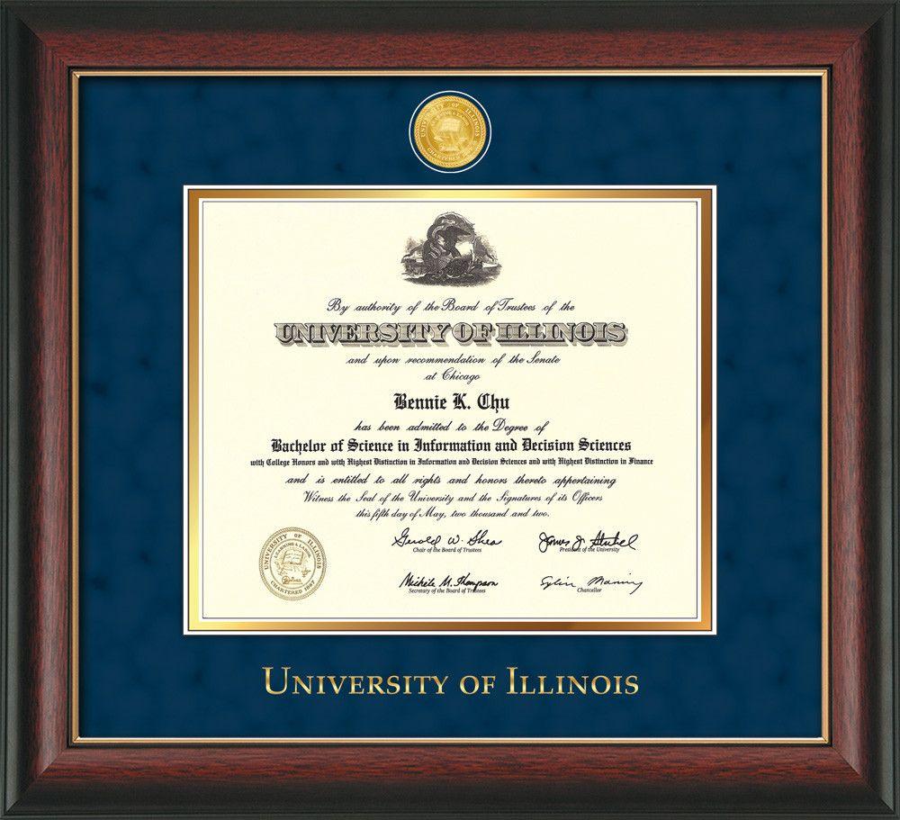 U of Illinois Diploma Frame-Rose Gold-w/Illinois Medallion-Navy ...