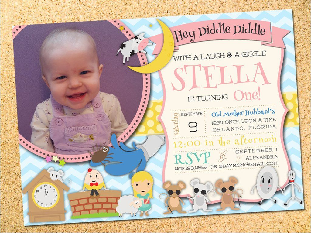Mother Goose Nursery Rhymes Birthday Party Invitation