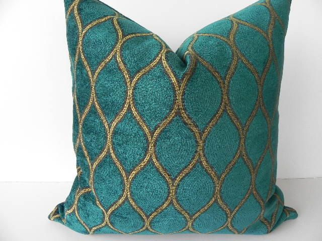 Blue And Teal Pillows Part - 24: Iman Velvet Decorative Pillow 19X19-Both Sides-Designer Home Decor  Fabric-Throw Pillow