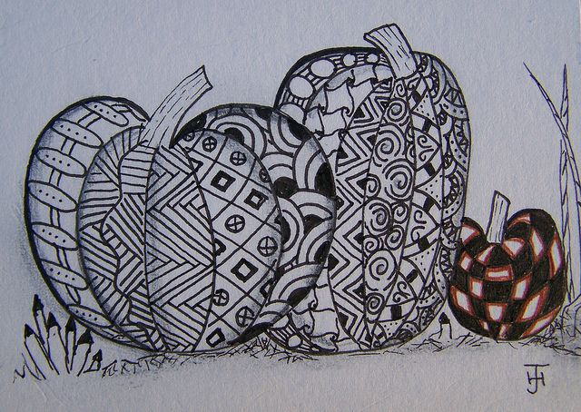 zentangle pumpkins. Check out the website lots of ideas - maybe for something in bedroom