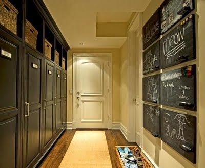 Vallone Designs - love the basket of shoes and chalkboard grid as art via VT Interiors