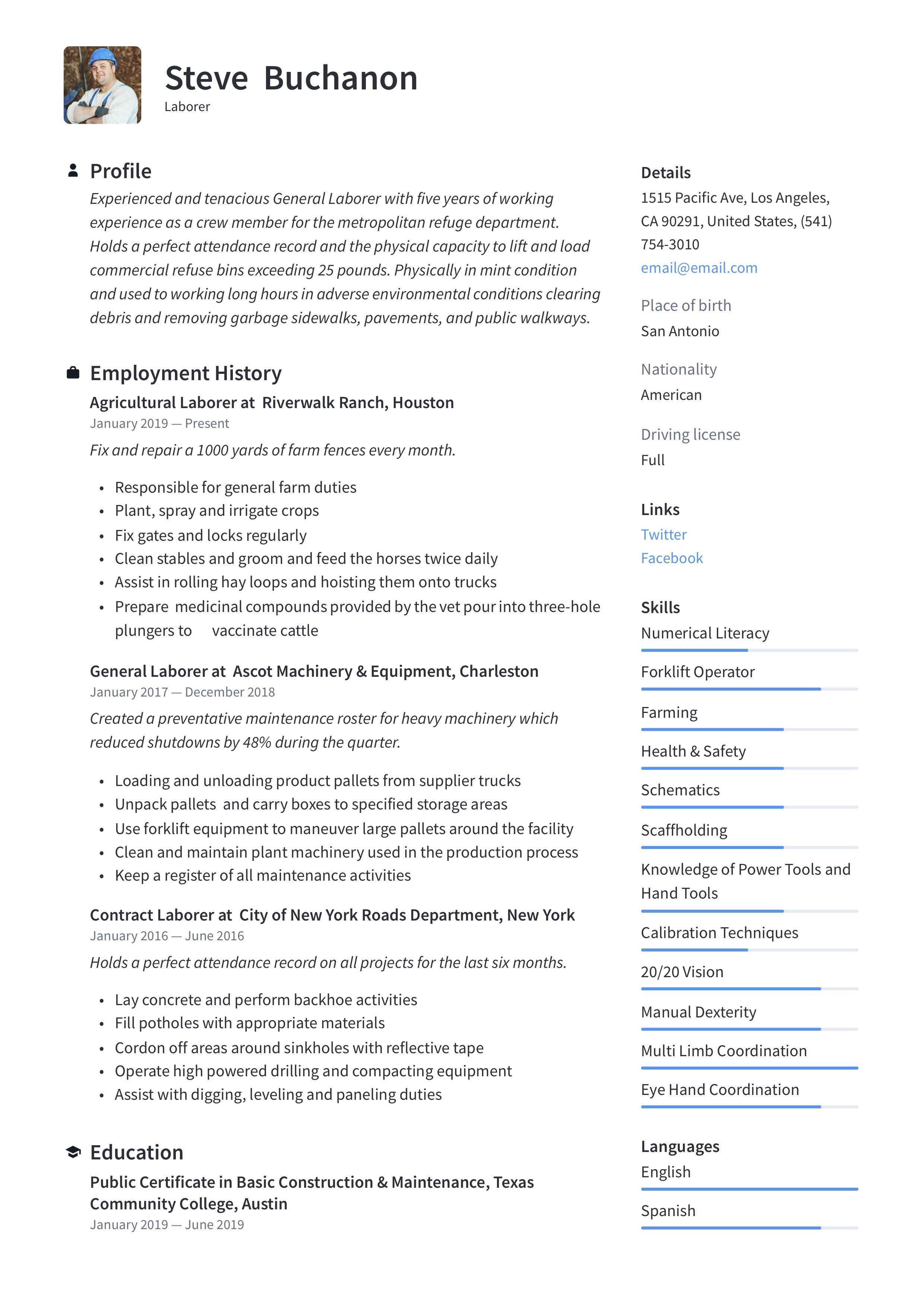 General Laborer Resume & Writing Guide in 2020 Resume
