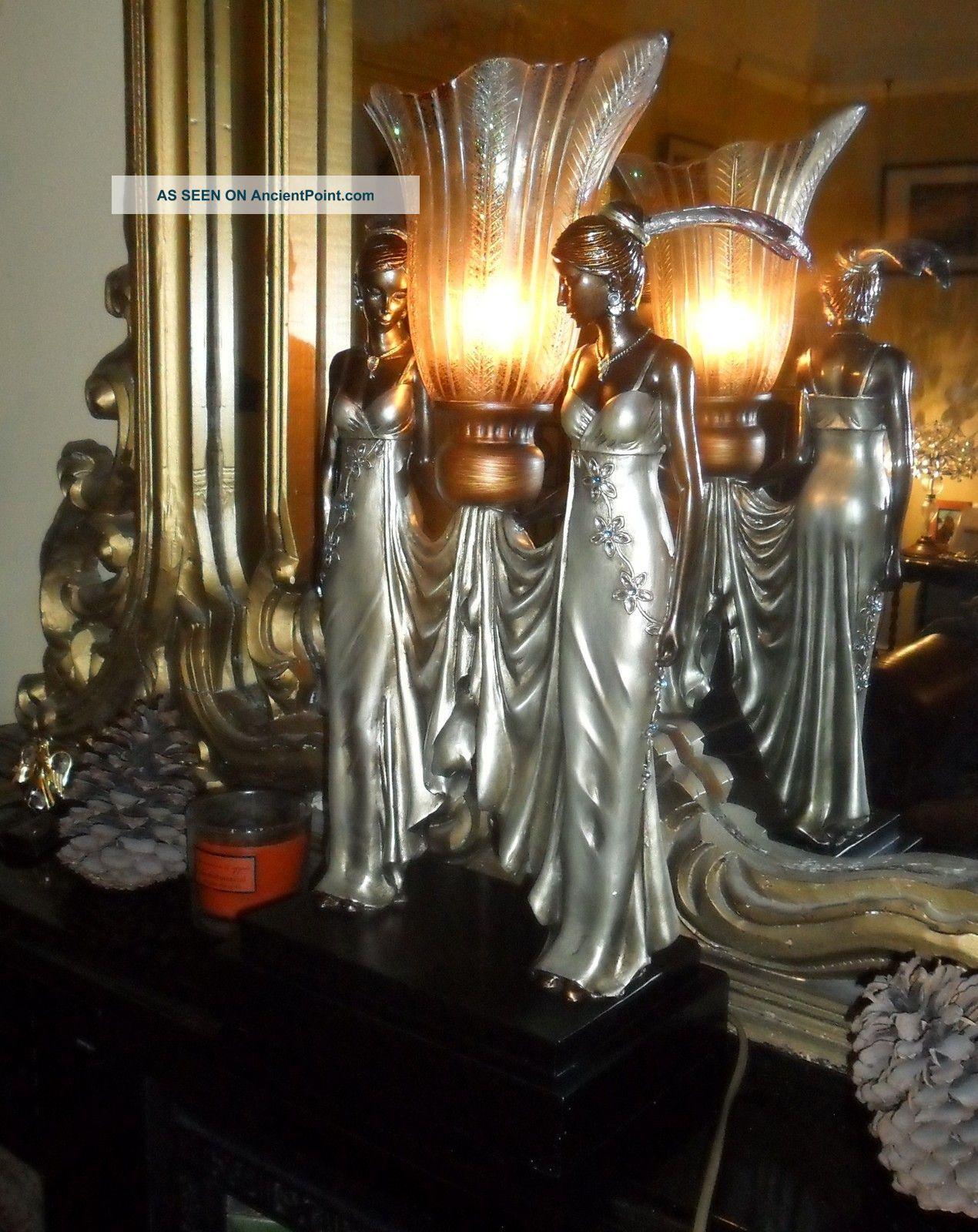 Art Deco Nouveau Chrome Figures Flapper Statue Antique