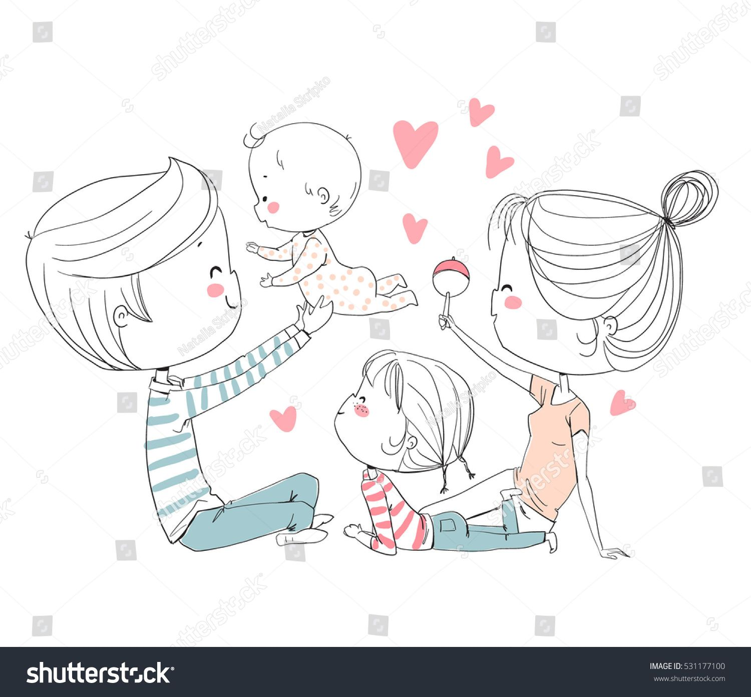 Happy Family Mother Father And Children Family Drawing Family