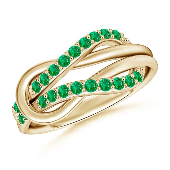 Angara Emerald Infinity Knot Ring in Yellow Gold