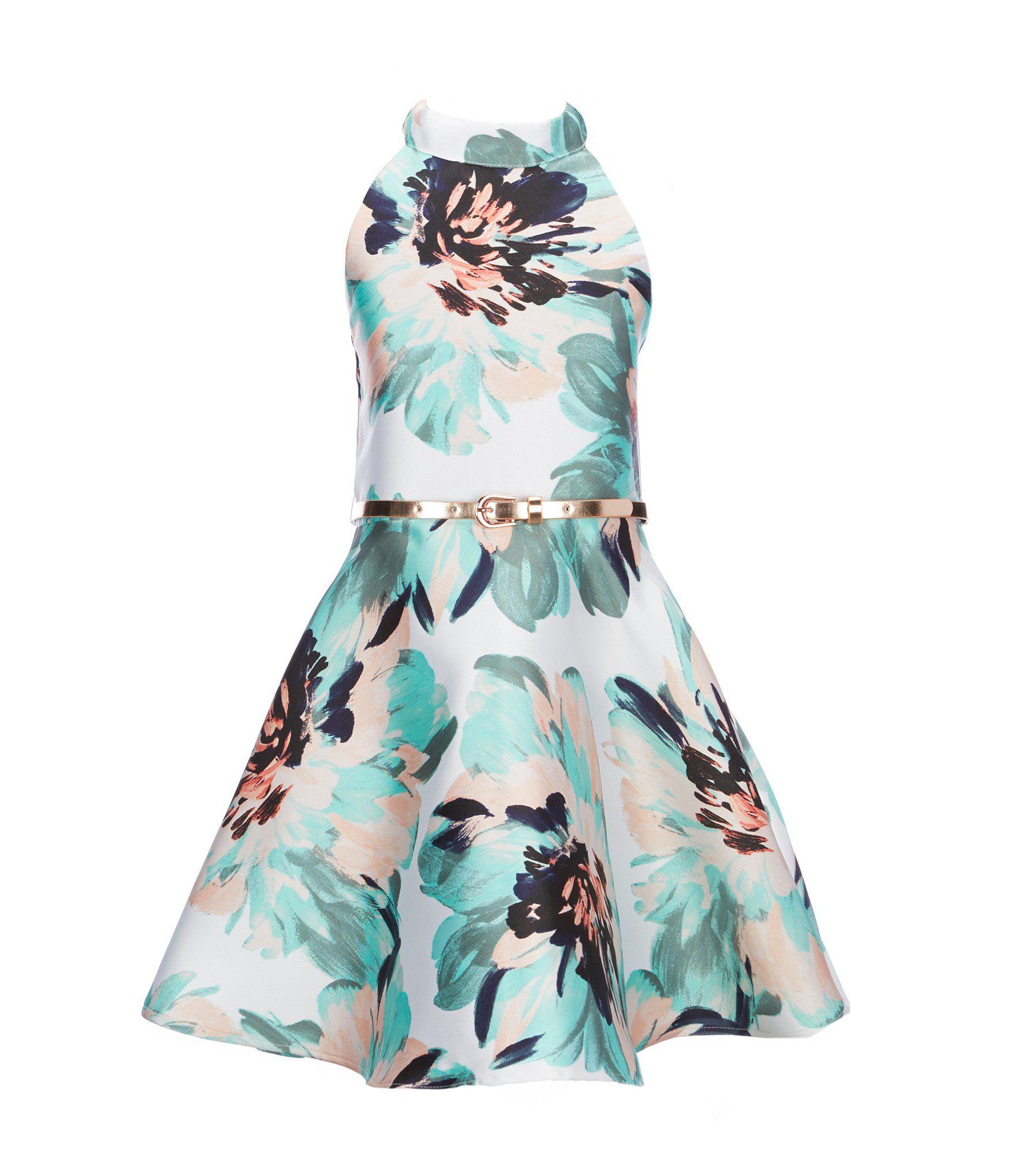 21b6b5d03c3 Zunie Big Girls 716 Floral Belted Dress  Dillards