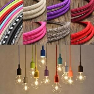 1 3 5 10m O7 5mm Fil Italien Tresse Gaine Tissu Cable Electric Fabric Wire Lampe Ampoules Suspendues Decoration Entree Couloir Lampe