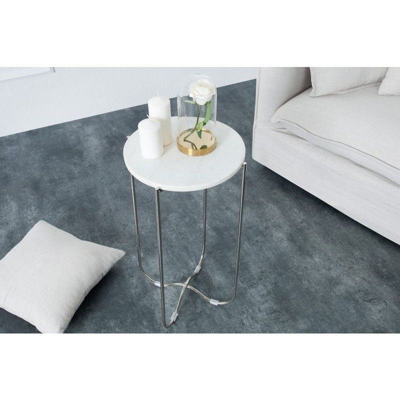 Bijzettafel Noble Wit Marmer Zilver - 38013   Salon en ...