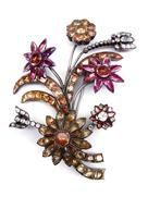 18th century pink and orange topaz and white paste flower brooch, c.1760