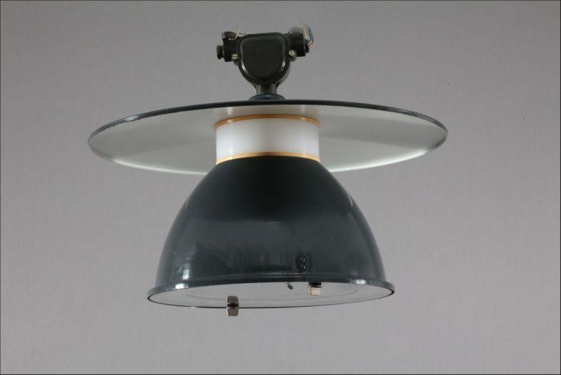 Industrial Ceiling Lamp Germany 1940 Dark Green Enamelled Metall