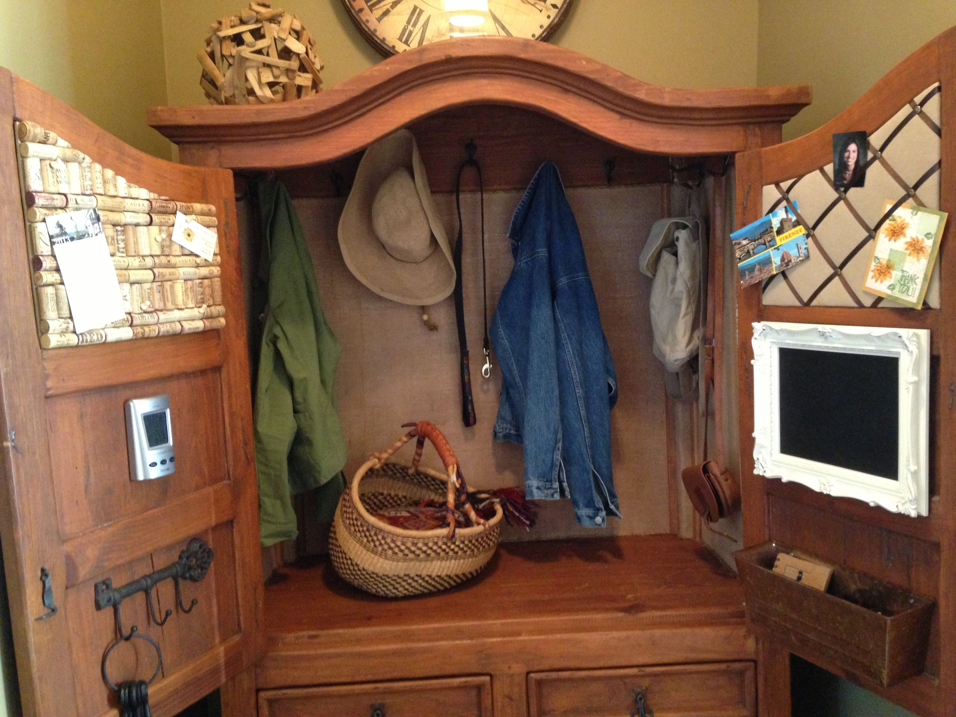 Repurposed armoire interior.