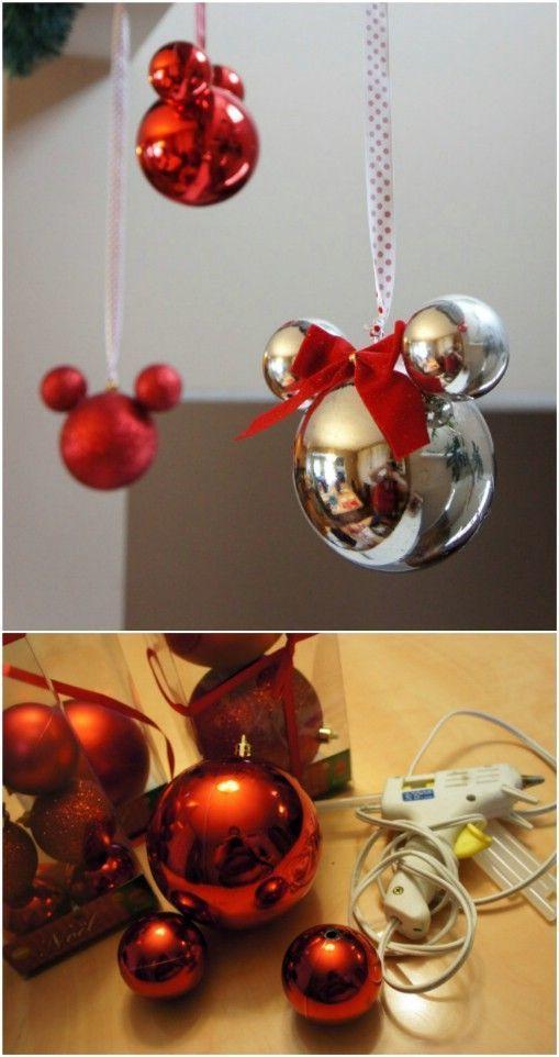 Brillantes adornos navideños Mickey de bricolaje
