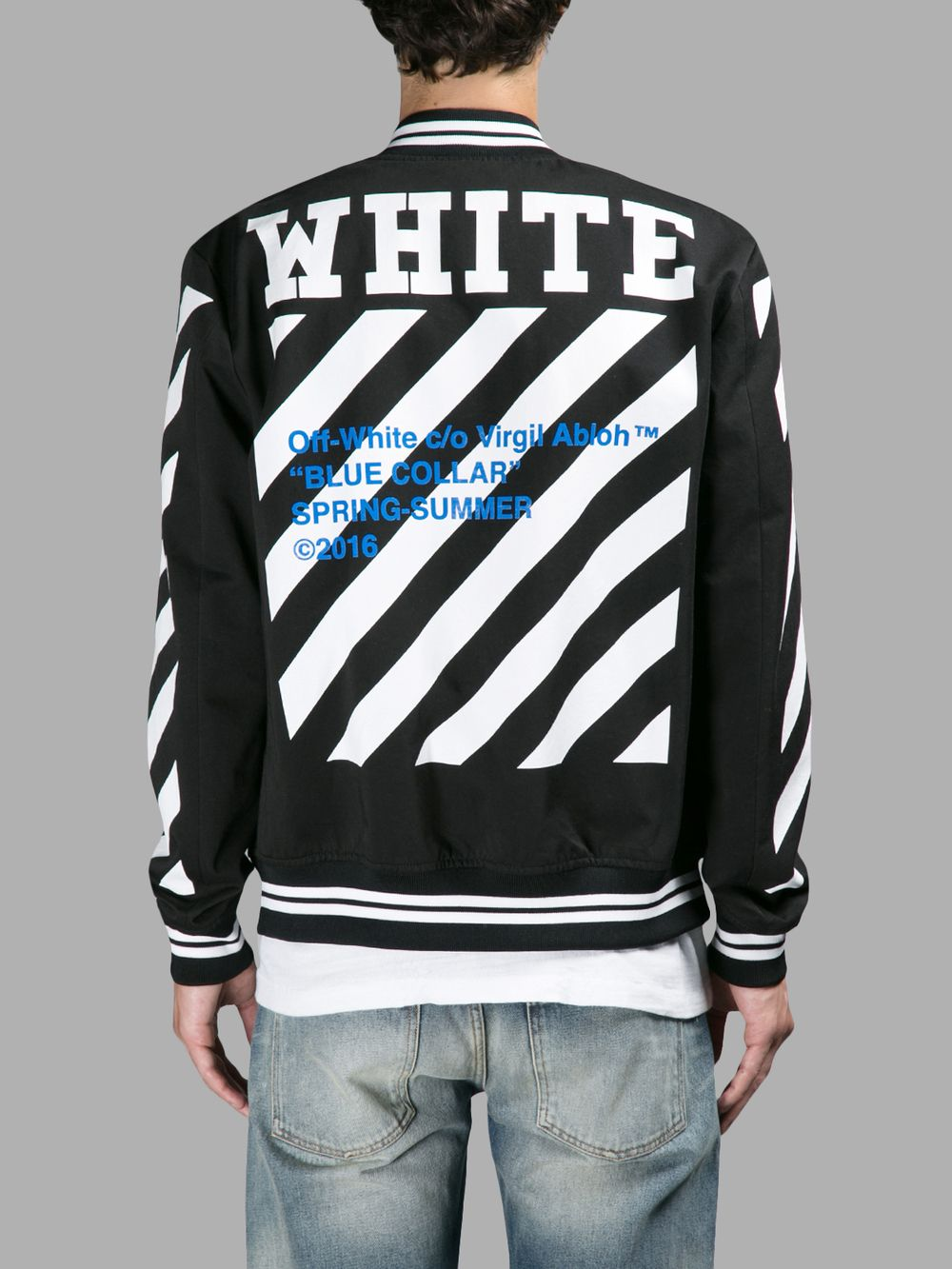 ブルゾン OFF WHITE C/O VIRGIL ABLOH MEN'S BLACK BLUE COLLAR