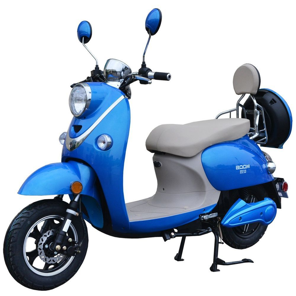 Boom 800w 48v Electric Moped Scooter 573n Brushless Motor Blue