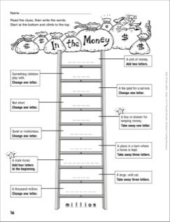 In The Money Word Ladder Grades 4 6 Printables Word Ladders Words Word Study