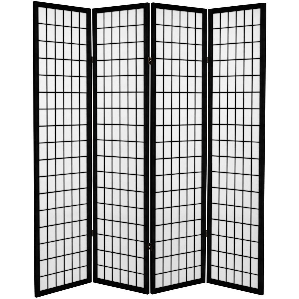 Oriental Furniture 6 Ft Black Canvas Window Pane 4 Panel Room