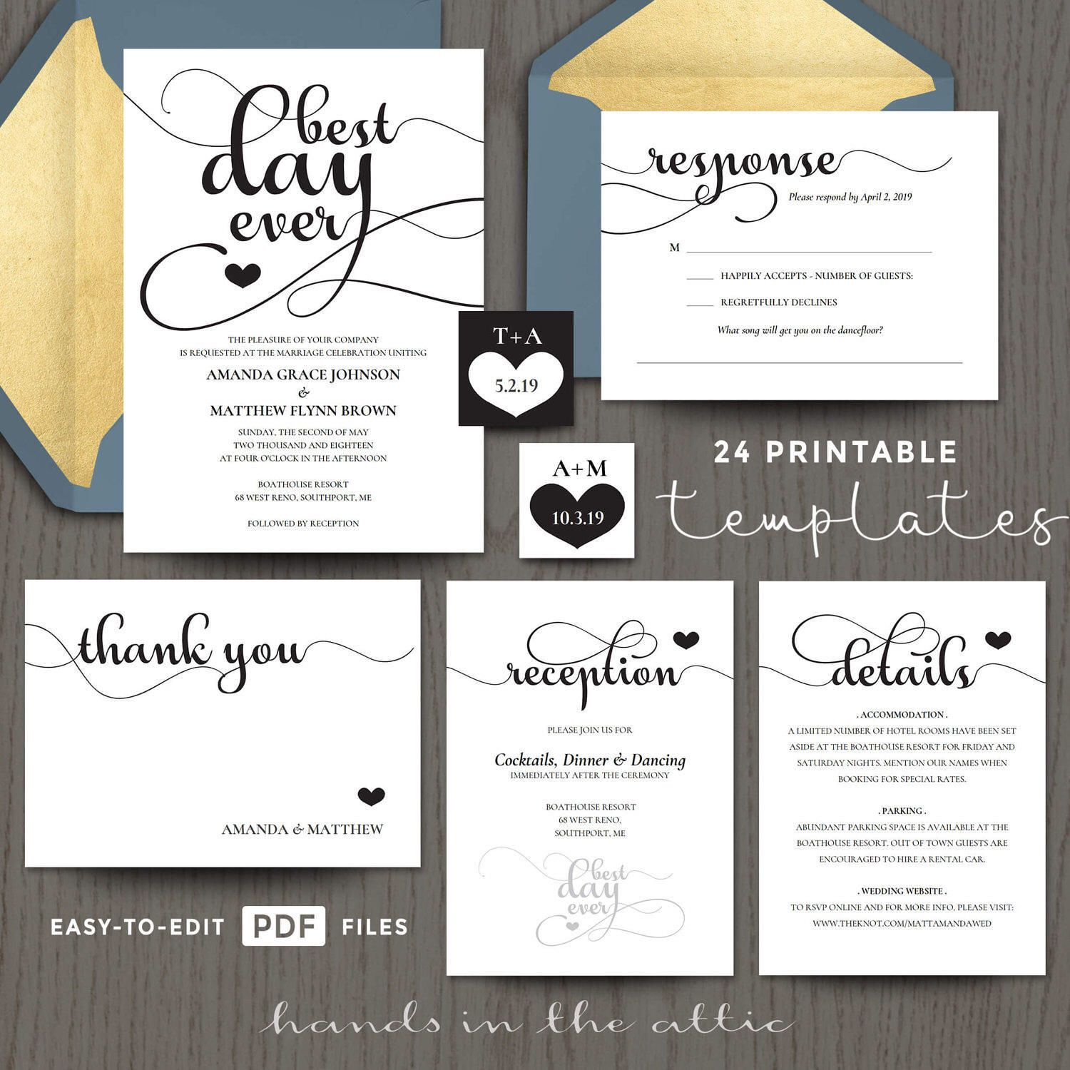 Wedding invitation templates, best day ever, full suite set ...