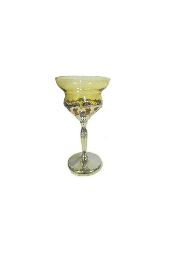 Chrome and Glass Cocktail Glass, Vintage, Art Deco Style