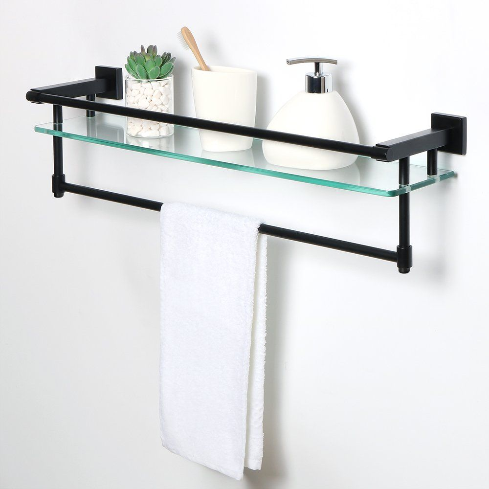 Sayayo Tempered Glass Shelf Square Bathroom Shelf With Towel Bar And Rail Wall Mounted 26 Inches Sus 304 Tempered Glass Shelves Glass Shelves Bathroom Shelves