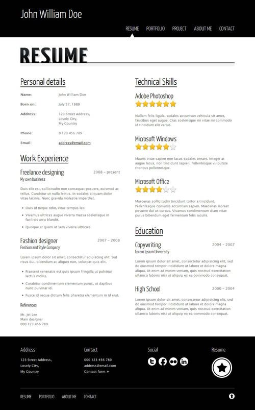 Careera Next u2013 Resume, Portfolio HTML Template Curricos - resume portfolio