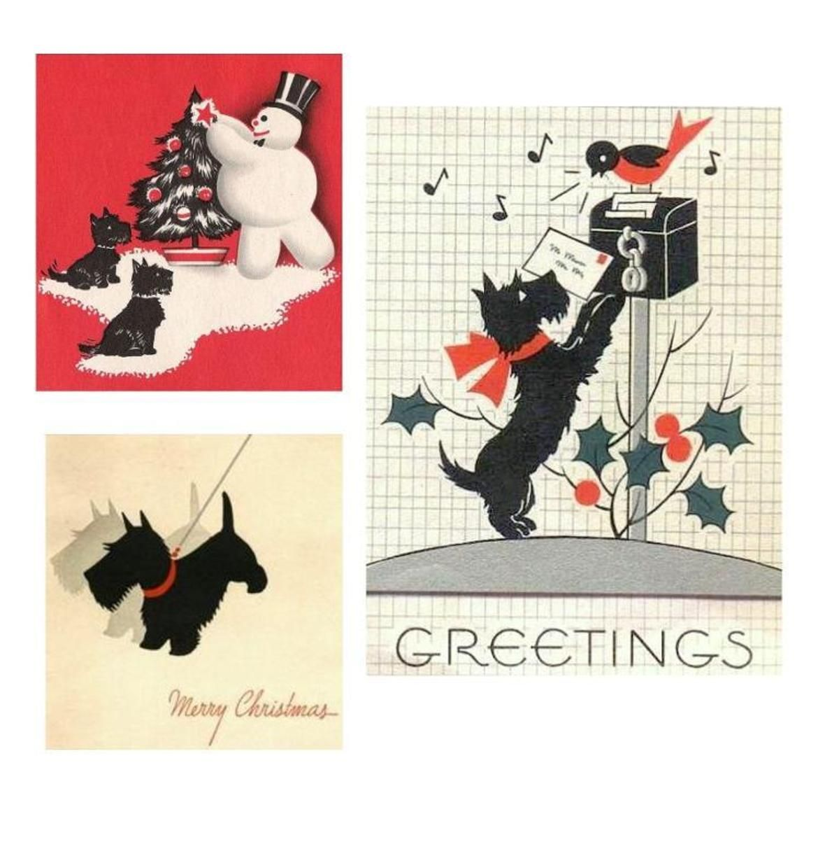 Digital Images Christmas Scottie Dog