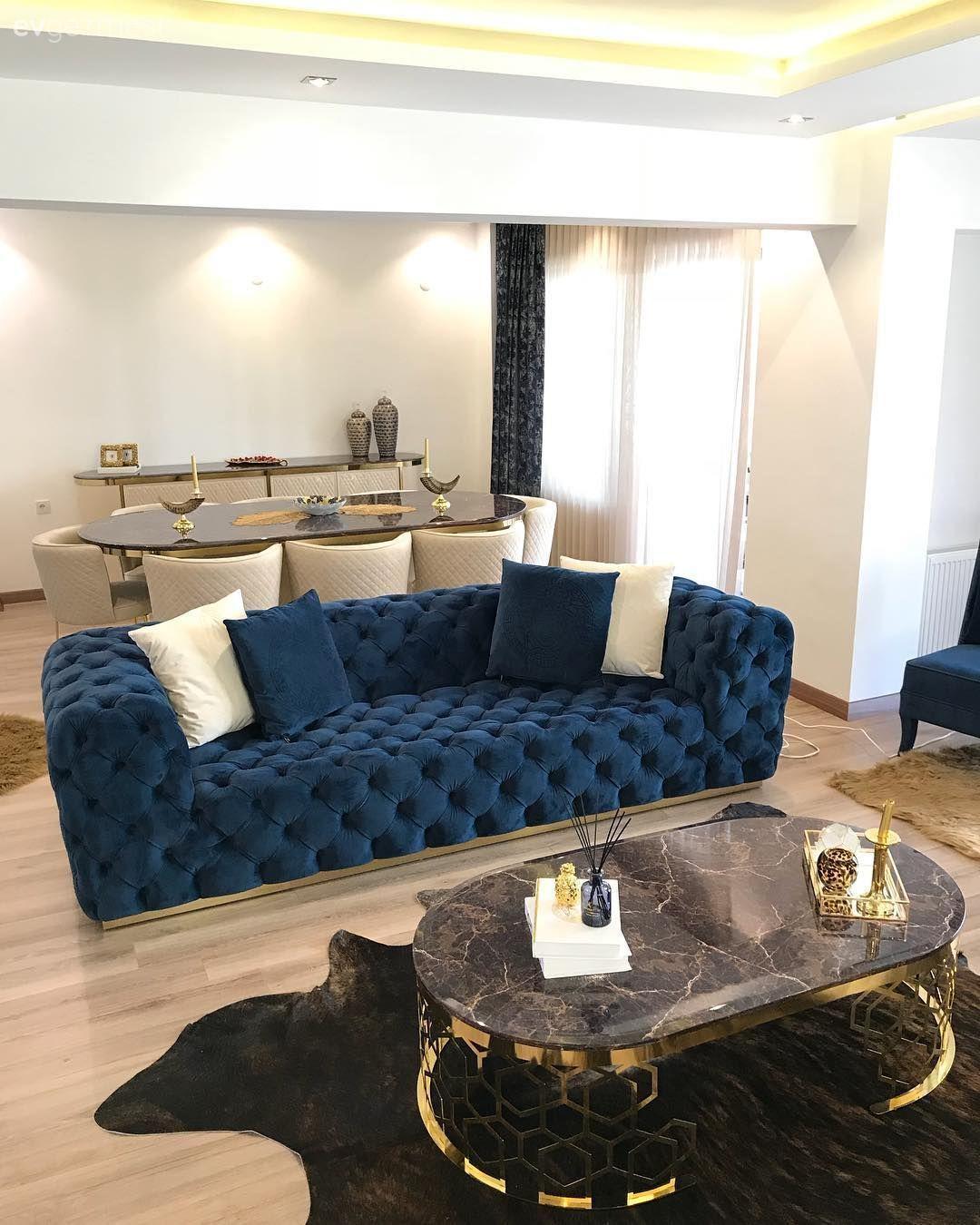 Salon Parlament Mavisi Krem Kapitoneli Koltuk Koltuk Takimi Kirlent Ev Homeacce In 2020 Geometric Furniture Sofa Design Couches Living Room