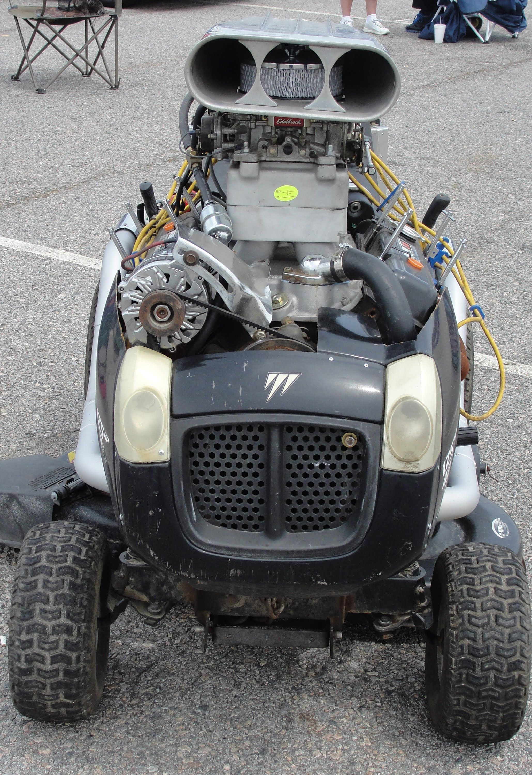 Why Not Throw A 350 V8 On A Lawn Mower Lawn Mower Lawn Mower Tractor Lawn Mower Racing