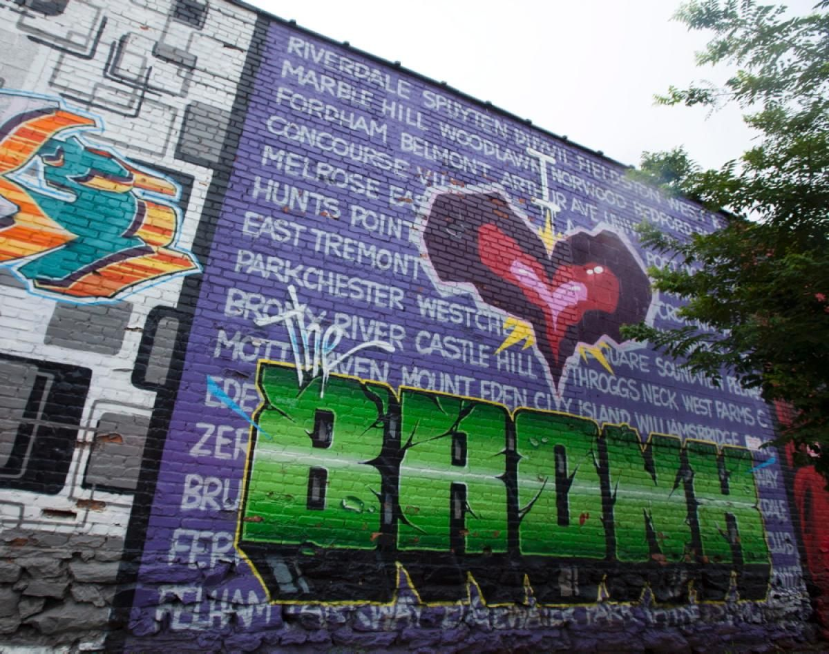 Numerous hunts point walls and warehouses are decorated with vibrant murals including tats crus i love the bronx shown whitlock ave