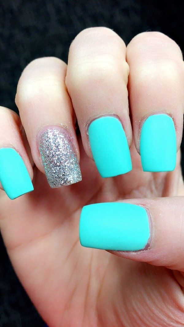 matte tiffany blue nails in 2019