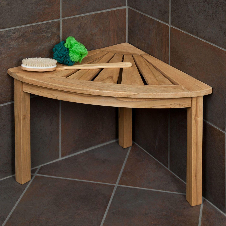 Teak Corner Shower Seat With Shelf Bathroom