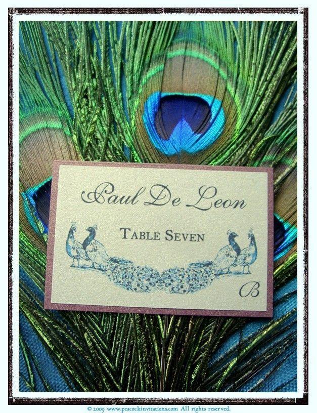 ANNA Lovebirds Peacock Themed Escort Cards in Sapphire Blue. $1.35, via Etsy.