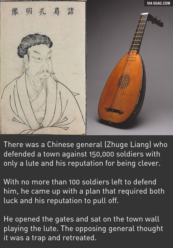 You Think 300 Is Badass Zhuge Liang Used A Lute To Defend A Town Lute Fun Facts Best Funny Pictures