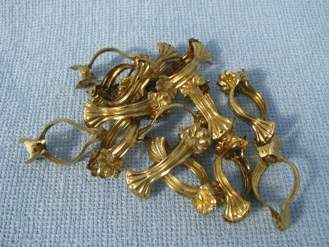 lot vintage cafe curtain hooks, ornate brass clip rings drapery
