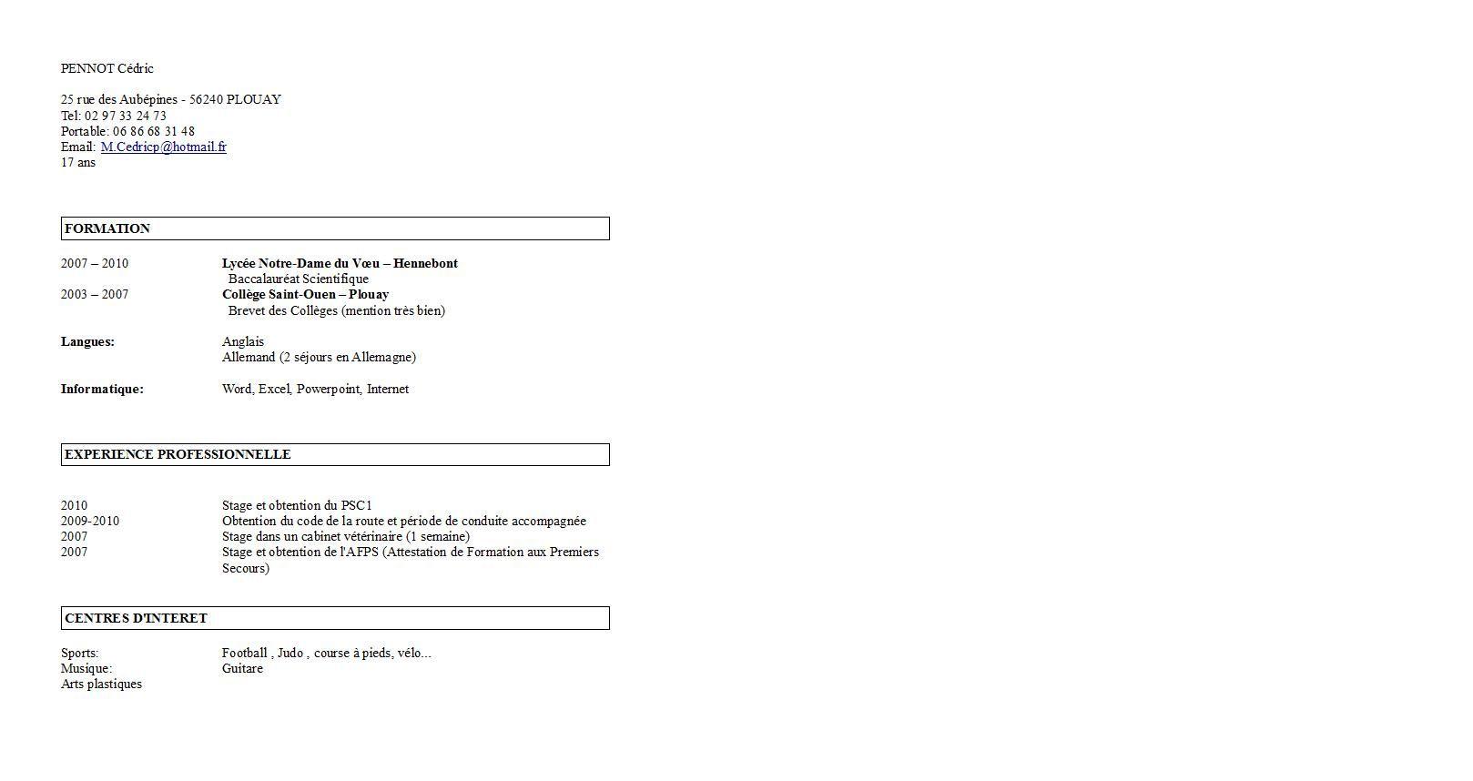 Exemple Cv Etudiant Terminale S Cv Etudiant Exemple Cv Modele Cv Etudiant