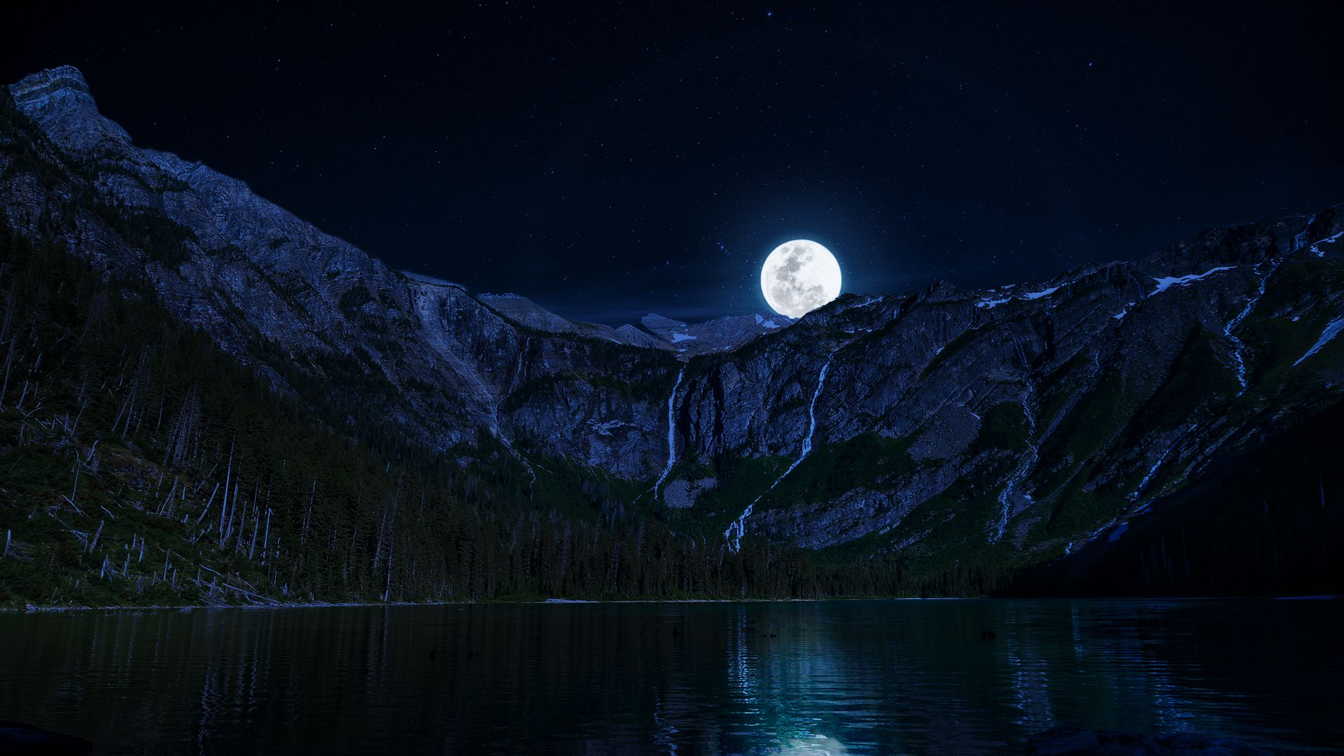 lake night moon mountains wallpapers 1920x1080. | autumn