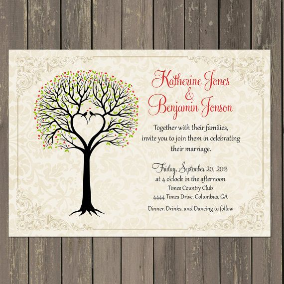 Love Birds Wedding Invitation Tree Themed Bridal Shower S Printable Or Printed