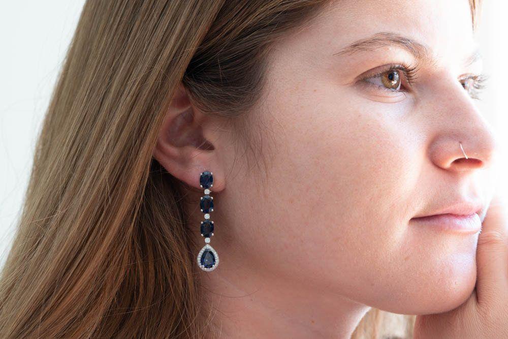 50% OFF - 12.11 Carat Sapphire Drop Earrings with 0.54 Carat Diamonds - Handmade Jewelry #gemstonejewelry